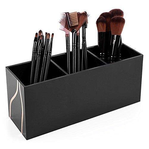 Vencer Makeup Brush Holder Organizer | 3 Slot Cosmetics Brushes Storage Solution,Black,VMO-011