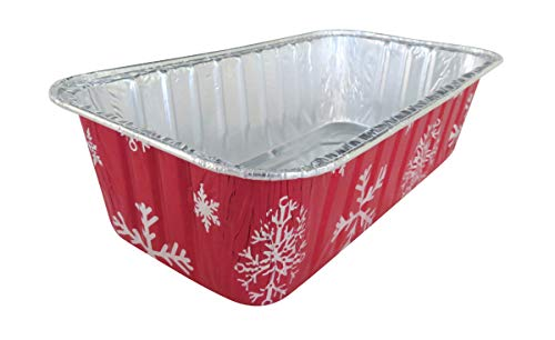 Disposable Aluminum Holiday 2 lb. Loaf Pans with Clear Snap on Lid #9401X (10)