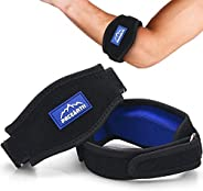 PACEARTH Golf Tennis Elbow Brace with Metal Buckle Compression Pad with 4 Adjustable Band Straps 2-Count Arm W