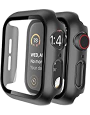 For apple watch cover with glass screen protector 44mm black