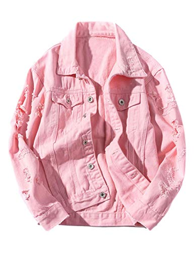 ZLSLZ Womens Girls Cute Solid Distressed Ripped Long Sleeve Denim Jean Jacket Coat Plus Size Pink US XXL]()