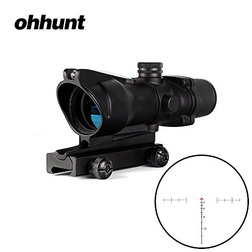 ohhunt 4×32 Hunting RifleScopes Red or Green Illuminated Chevron Glass Etched Reticle Real Fiber Optics Tactical Optical Sights Scope (Click to Select Black Red Illuminated) For Sale