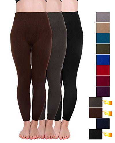 Homma 3 Pack Extra-Thick French Terry Thermal Leggings (Large/X-Large, Black,D.Brown,D.Grey)