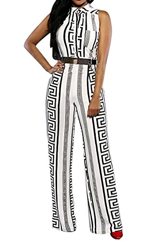 Ur Fashion Womens Jumpsuits Elegant And Sexy Button Loose Long Wide Leg Jumpsuits Romper