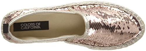 Colours of California Damen Double Sole Espadrille in Sequins Pink (Pink)