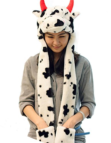 [Funnie Varied Animal Hats Gloves Scarf 3 In 1 Set -Costume Hood Toy(Milk Cow)] (Cow Head Hat Adult)