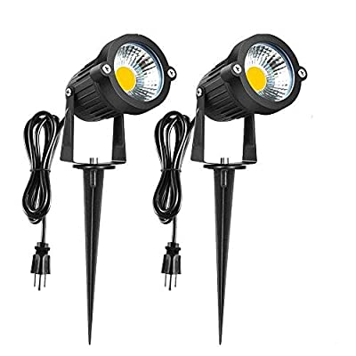Romwish LED Landscape Lighting 5W - AC120V 3000K Warm White Landscape Up Down Light, IP65 Waterproof spot Light for Driveway, Yard, Lawn, Patio, Outdoor Garden Lights with Spike Stand(2 Pack)