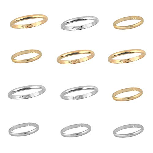 Babies And Children Jewelry - Gold And Silver Plain Band Rings Multiple Sizes