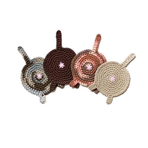 Handmade crochet cat butt coasters by Geekirumi! - Cotton yarn drink mats - Bengal, Tortoiseshell, Beige, Brown (set of 4)