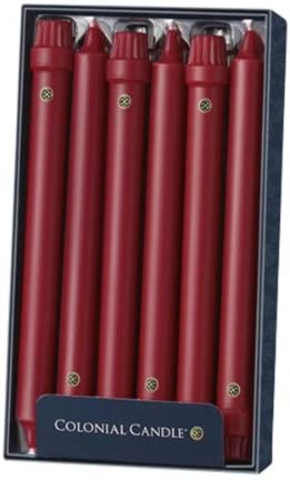 Colonial Candle Classic Tapers Red 10-Inch