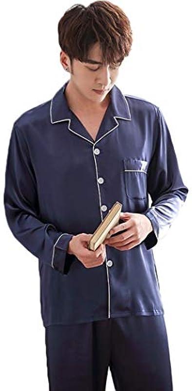 HQ-PJS Schlafanzüge Pyjamas Men Ice Silk Langärmelige Dünne Oberteil Und Hose Einfache Large Size Außerhalb Sommer Dad Silk Home Service Anzug Getragen Werden Kann (Color : Blue, Size : XXXL): Küche & Haushalt