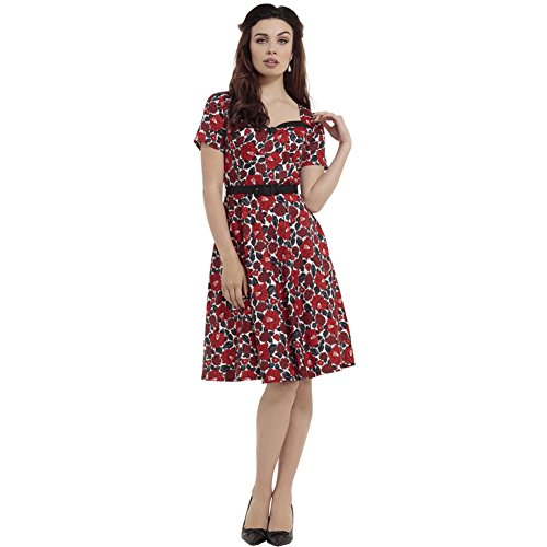 Voodoo-Vixen-Poppy-Floral-Holly-Print-Flare-Dress-Red