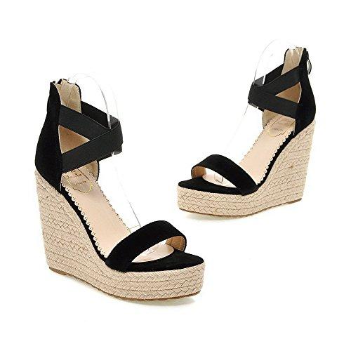 Open imitato Solid Platform Women Agoolar Suede Zipper Black Toe Sandal YAEOqvw
