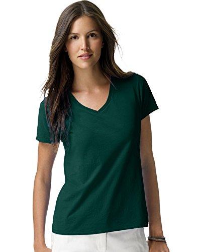 Hanes Women's Nano- V-Neck T-Shirt Deep Forest XX-Large