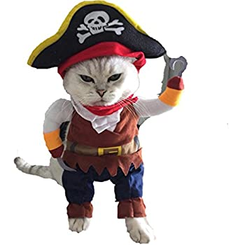 Puppy Costume ,Vanvler Halloween Pirate Cool Cute Pet Cats Dog Cosplay Clothing New (S, Brown)