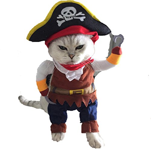 Images Of Male Pirate Costumes (Puppy Costume ,Vanvler Halloween Pirate Cool Cute Pet Cats Dog Cosplay Clothing New (S, Brown))