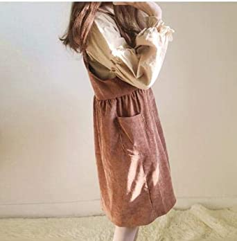 Womens Beach Casual Dresses Vintage Kawaii Ulzzang Corduroy Strap Dress Female Cute Kawaii Harajuku Clothing for Women
