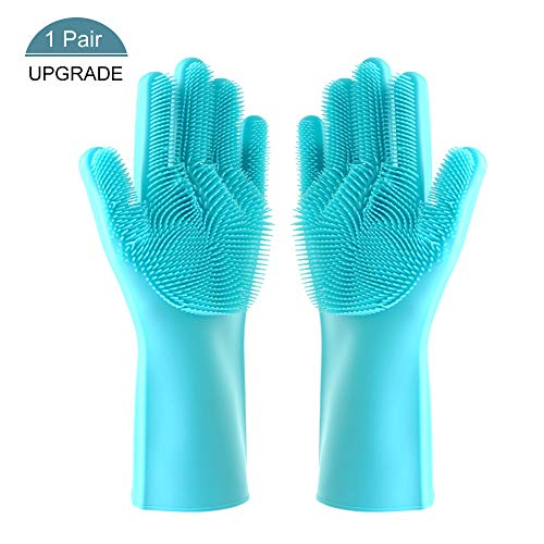 Magic Silicone Gloves with Wash Scrubber, Chialstar Reusable Brush Silicone Dish Scrubber Heat Resistant Gloves Kitchen Tool for Cleaning, Dish Washing, Household, Washing the Car,Pet Hair Care(1Pair)