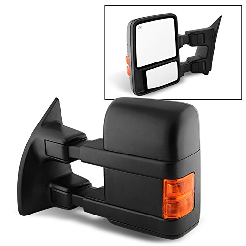 For 08-16 Ford SuperDuty Extendable Towing Power Telescoping Wide Angle Side Mirrors Driver Left Side by AKKON