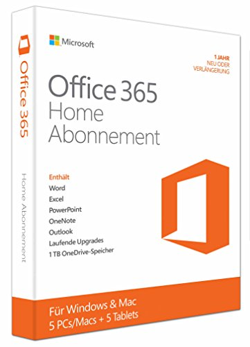 Microsoft Office 365 Home - 5PCs/MACs - 1 Jahresabonnement - multilingual (Product Key Card ohne Datenträger)