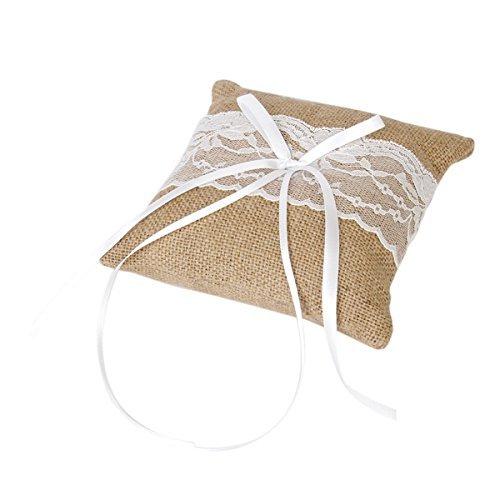 Tinksky Vintage Burlap Lace 15*15cm Bridal Wedding Ceremony Pocket Ring Bearer Pillow Cushion