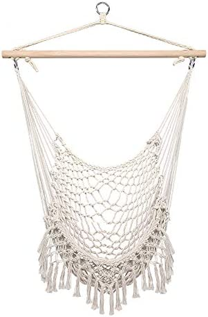 Hanging Hammock Chair Swing Seat, Cotton Rope Hammock Cradle Chair with Wood Stretcher, Hammock Rope Sling with Tassel for Indoor Outdoor Bedroom Garden Yard Patio Porch Beige