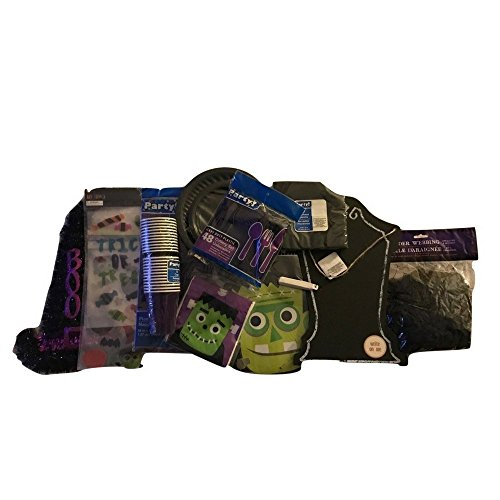 Banshee Costume Ideas (Decorate Your Home or Classroom with Frankenstein's Monster, Window Gel Clings, Spider Webbing, Tomb Stone Chalkboard, Witch's BOO Hat, Loot Bags, Party Cups, Plates, Napkins and Spoons Bundle,)