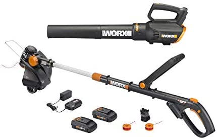 Worx WG930 20V 10 Cordless String Trimmer TURBINE Blower Combo Kit, 2 Batteries and 1-Hr Charger Renewed