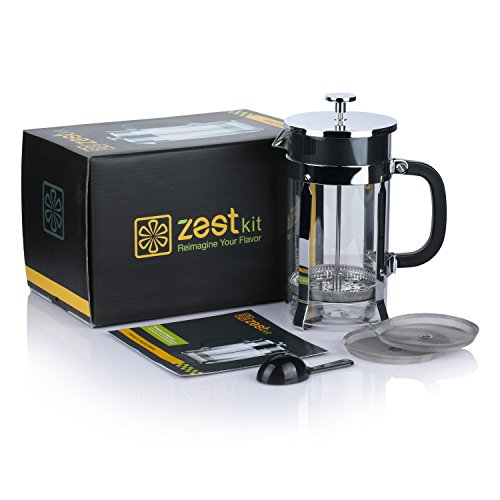 Zestkit French Press Coffee Maker, 34 oz Coffee and Tea Press Maker with 4 Filter Screens ...