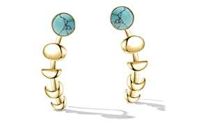 Moon Phase Ear Cuffs Hoop Climber Earrings for Women Fashion Statement Turquoise Earrings Girls Christmas Gifts
