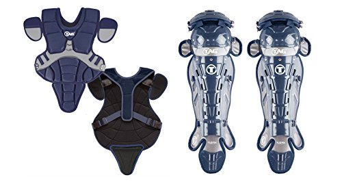 TAG 704 Pro Series II Youth Catchers Set with Body Protector and Leg Guards, Navy/Grey