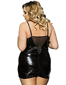 Women's Plus size Pu Leather Teddy Lingerie