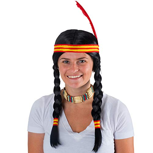 Tigerdoe Indian Maiden 4 Pc - Indian Costume Wig - Native Princess Costume - Indian Warrior (Costume Feathers Indian)