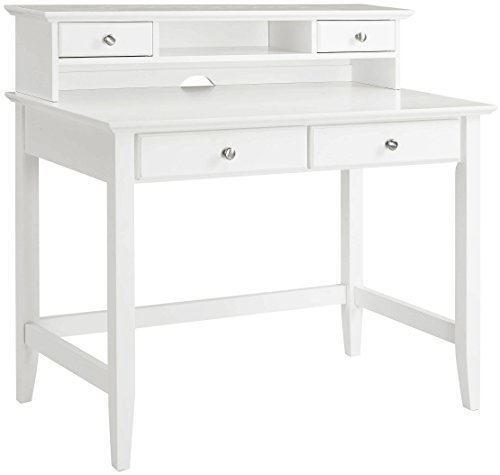 Crosley Furniture KF65004WH Campbell Writing Desk with Hutch - White