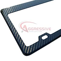 Carbon Fiber License Plate Frame - Tag Registration Real Premium Quality 3D Twill Weave Light Weight - Aggressive Overlays by Aggressive Overlays