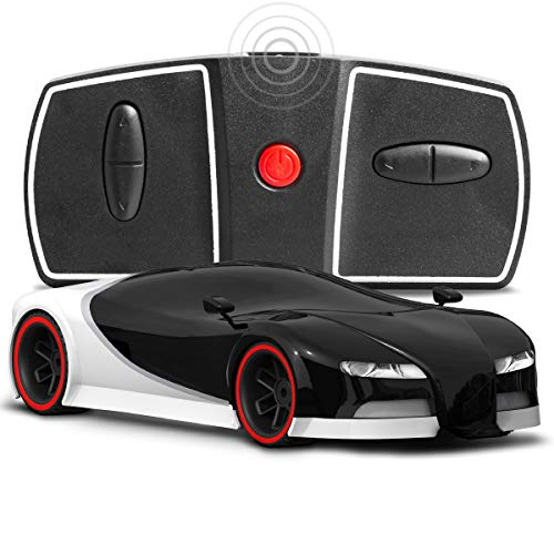 Sharper Image Miniature Toy RC Italia Sports Car 1:50 Scale Luxury Cars-Inspired Design with LED Headlights & Brake Lights, Black and White, Long Range 2.4 GHz Frequency Remote Control