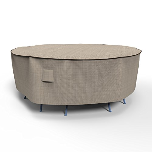 Combo Cover 30 Inch Drop - EmpirePatio P5A01PM1 Tan Tweed Medium Round Table and Chair Combo Cover