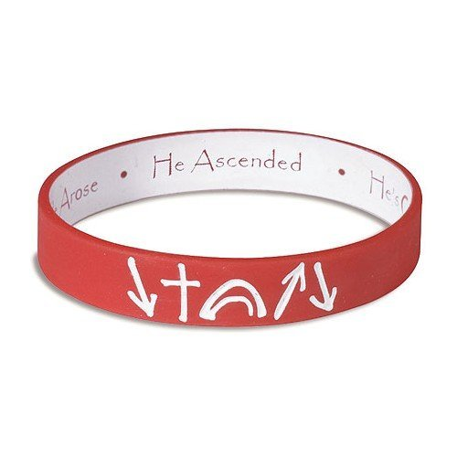 Gifts Of Faith Red and White reversible Witness Band Silicone Bracelet