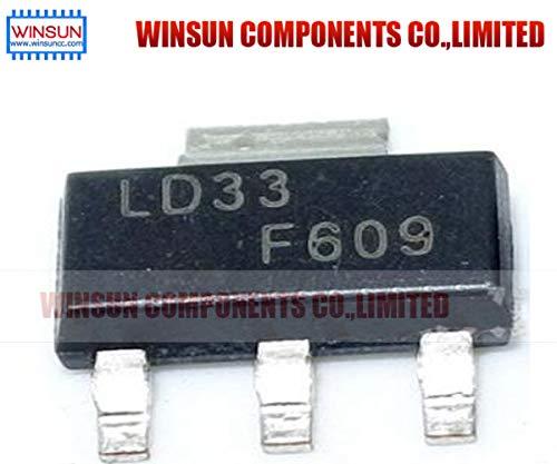 Gimax 10pcs LD1117S33CTR SOT-223 LD1117S33 SOT223 LD33 IC REG LDO 3.3V 950MA ()