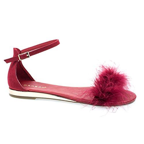 Faux Marabou Pluizige Vacht Open Teen Sandaal, Dames Metallic Sleehak Dames Sandalen Rood