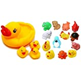 Creative Kids Combo of Duck Family Baby Toys-Set of 4 & Bath Toys 12 Piece-Multi Colour
