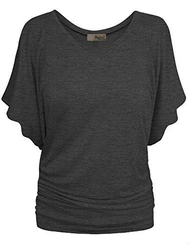 HyBrid & Company Womens Boat Neck Dolman Top Shirt KT44130 Charcoal Medium (Womens Charcoal Blouse)