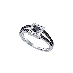 14kt White Gold Womens Princess Black Colored Diamond Halo Bridal Wedding Engagement Ring 1/2 Cttw (I2-I3 clarity; Black color)
