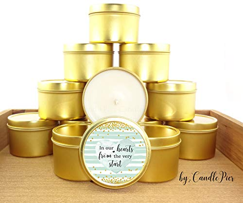 12 Gold and Mint Green Baby Shower Favors | 4oz Personalized soycandles | nuetral, BOR or Girl | Gender Reveal | Table Decor, Centerpiece | Custom Stickers, (Quinceanera Mint Tin Favors)