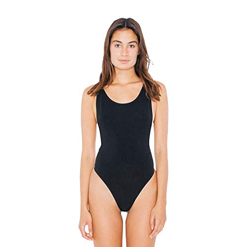 American Apparel womens Cotton Spandex Sleeveless Deep Cut Bodysuit