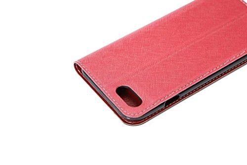 JIALUN-carcasa de telefono Cruz Lines Textura ultra delgado Slm estilo PU cubierta de cuero de la caja de protección con ranuras para tarjetas y Kickstand para el iPhone 7 Plus ( Color : Blue ) Black
