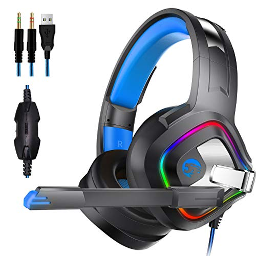 Aobiny Gaming Headset,USB 3.5mm Surround Stereo Gaming Headset Headband Headphone with Mic for PC Hot for Computer Headband with Microphone LED Light (Black)