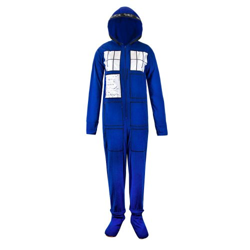 [Doctor Who TARDIS Police Box Hooded Pajama Adult XX-Large] (Dr Who Police Box Costume)