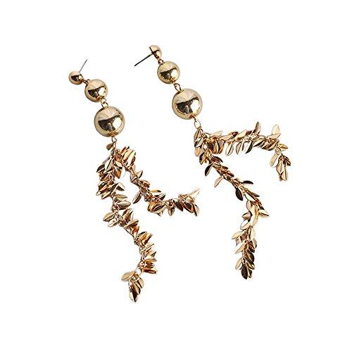 Myun Statement Gold Tone Ball Long Spike Tassel Drop Dangle Earrings Stud for Women Fashion (Dazzling Dark Queen Of Hearts Costumes)