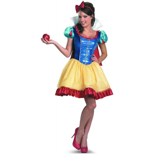 Disguise Disney Deluxe Sassy Snow White Costume, Yellow/Red/Blue, Medium/8-10 - Apple White Halloween Costumes